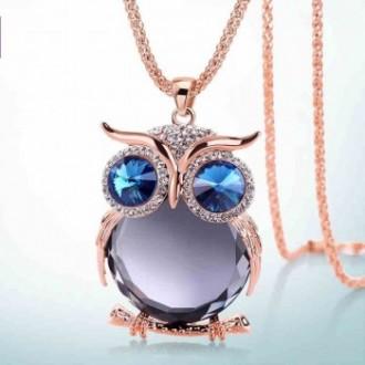 Collier et pendentif chouette en strass cristal