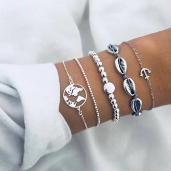 Set de 5 bracelets argentés...