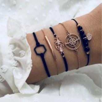 Set de 5 bracelets dorés et noir strass vintage