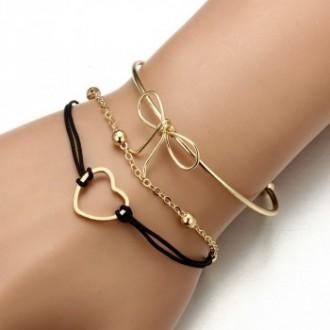 Set de 3 bracelets plaqués Or tendance